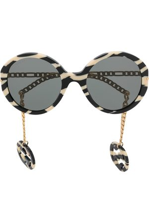 Gucci Women Round - Zebra-stripes round-frame sunglasses