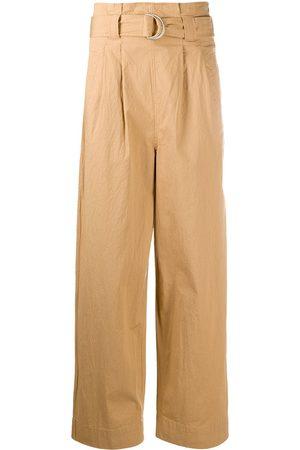 Ganni Paperbag straight-leg trousers - Neutrals