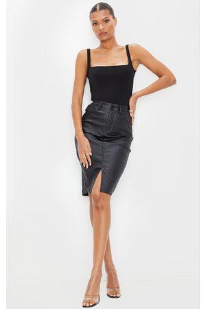 PRETTYLITTLETHING Coated Denim Midi Skirt