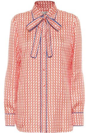 VALENTINO Exclusive to Mytheresa – Printed tie-neck silk blouse