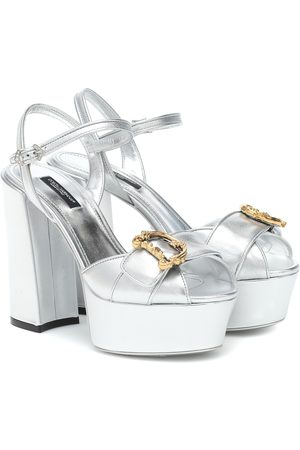 Dolce & Gabbana Metallic leather platform sandals