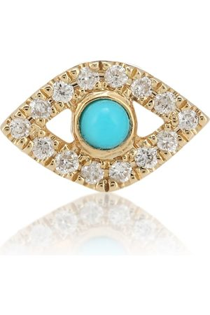Sydney Evan Small Evil Eye 14kt single earring with turquoise and diamonds