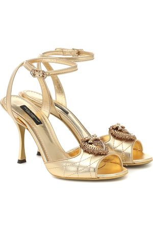 Dolce & Gabbana Devotion metallic leather sandals