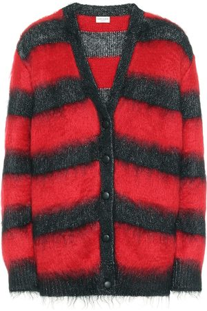 Saint Laurent Striped mohair-blend cardigan