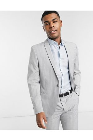 Viggo Recycled polyester slim fit suit jacket in light with pinstripe