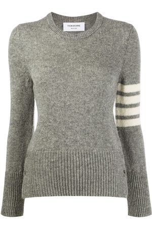 Thom Browne Jersey Stitch Classic Crew Neck Pullover w/ 4 Bar In Shetland Wool - Grey