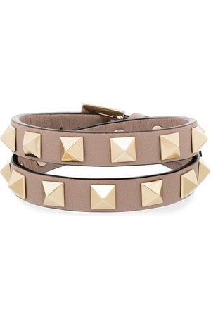 VALENTINO GARAVANI Women Bracelets - Rockstud wrap leather bracelet - Neutrals