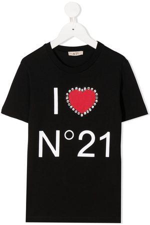 Nº21 Rhinestone heart logo T-shirt