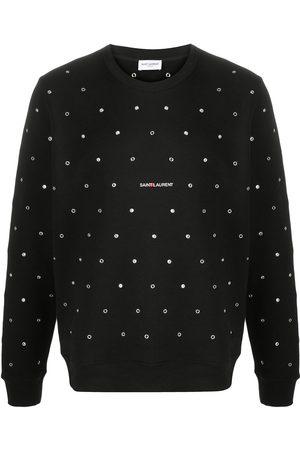 Saint Laurent Logo-print eyelet-embellished sweatshirt