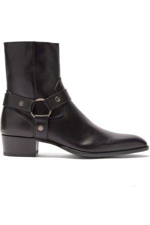 Saint Laurent Men Boots - Wyatt Point-toe Leather Boots - Mens