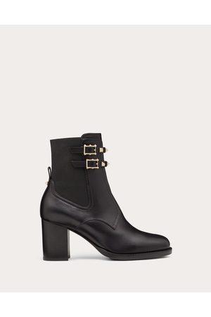 VALENTINO GARAVANI Rockstud Calfskin Ankle Boot 70 Mm Women Polyester 74%, Elastane 26% 36