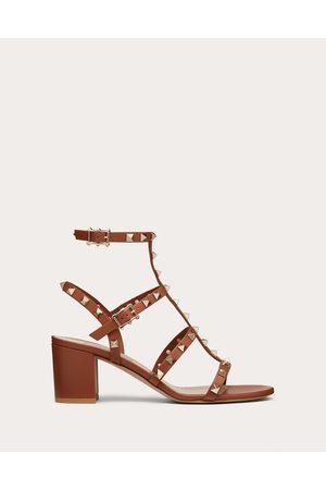 VALENTINO GARAVANI Rockstud Calfskin Ankle Strap Sandal 60 Mm Women Saddle Calfskin 100% 35