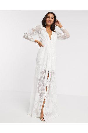ASOS Gayle blouson sleeve embroidered applique wedding dress