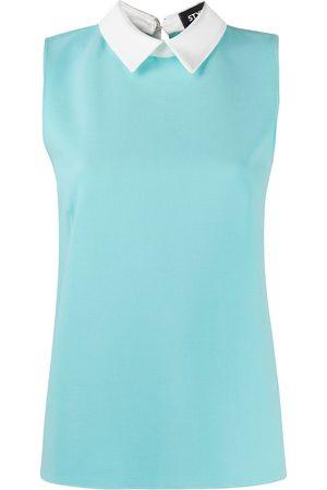 Styland Contrasting collar slim-fit vest
