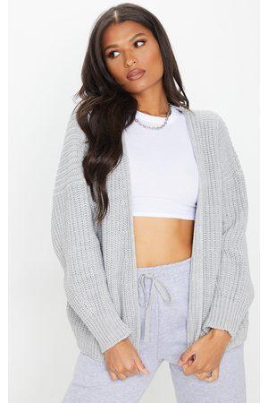 PRETTYLITTLETHING Grey Chunky Knit Slouchy Cardigan