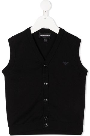 Emporio Armani Boys Tank Tops - Raised logo knitted vest