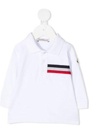 Moncler Polo Shirts - Long sleeve striped print polo shirt