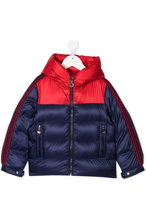 Moncler Hooded block color puffer jacket