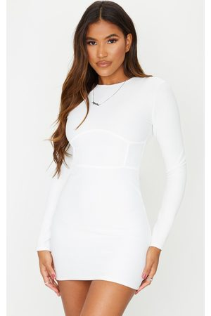 PRETTYLITTLETHING Rib Binding Detail Long Sleeve Bodycon Dress