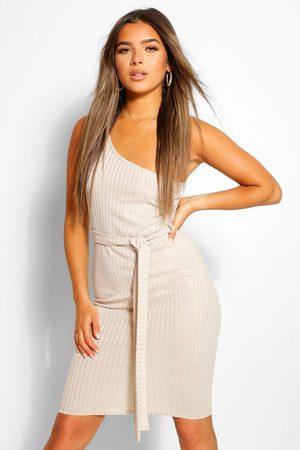 Boohoo Womens Petite One Shoulder Belted Rib Midi Dress - - 2