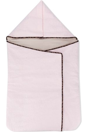 Fendi Embroidered FF cotton foldover blanket