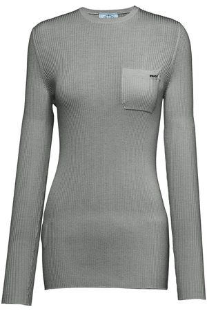 Prada Women Long Sleeve - Long sleeved pocket T-shirt - Grey
