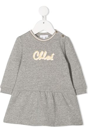 Chloé Long sleeve logo print dress - Grey
