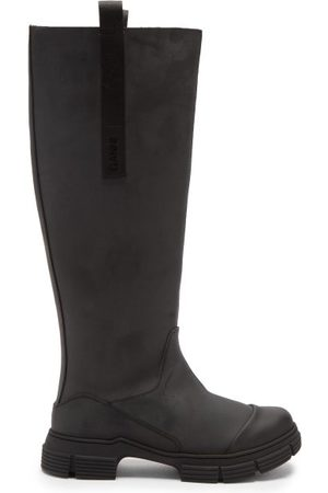 Ganni Chunky Recycled-rubber Knee-high Boots - Womens