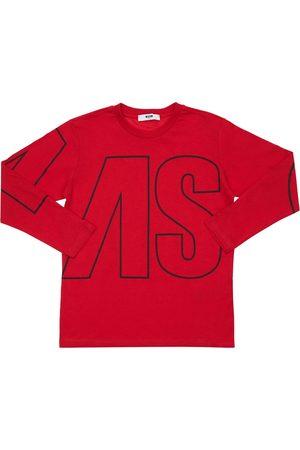 Msgm Logo Print Cotton Jersey T-shirt