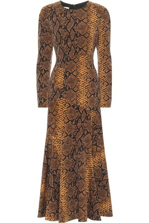DRIES VAN NOTEN Snake-print wool midi dress