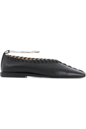 Jil Sander Ankle bangle whipstitch ballerina shoes