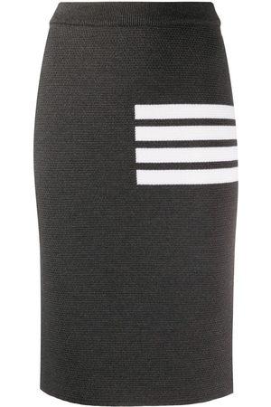 Thom Browne Links Stitch Below The Knee Pencil Skirt w/ 4 Bar In Fine Merino Wool - Grey