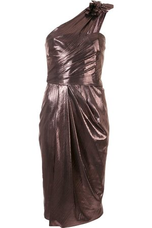 Marchesa Notte One-shoulder front slit dress - Metallic