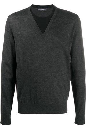 Dolce & Gabbana V-neck fine knit sweater - Grey