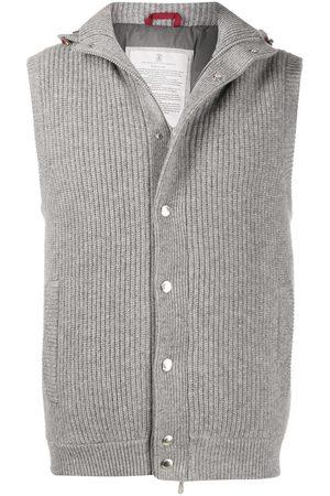 Brunello Cucinelli Men Gilets - Hooded knit gilet - Grey