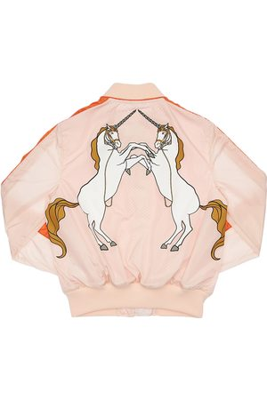 Burberry Unicorn Print Satin Bomber Jacket