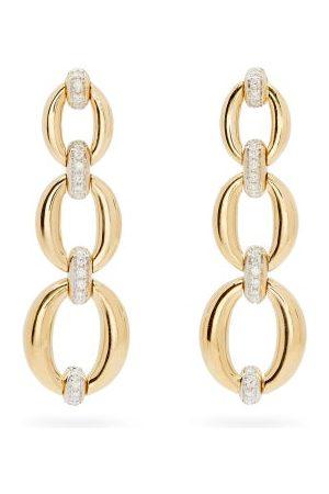 Nadine Aysoy Women Earrings - Catena Diamond & 18kt Triple-link Earrings - Womens