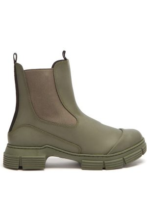 Ganni Chunky Recycled-rubber Chelsea Boots - Womens - Khaki