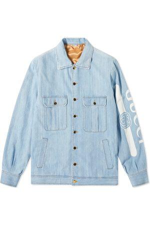Gucci Men Denim Jackets - Print Arm Denim Jacket