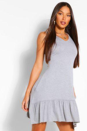 Boohoo Womens Tall Jersey Oversized Ruffle Smock Dress - - 2