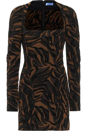 MUGLER Printed stretch-crêpe minidress