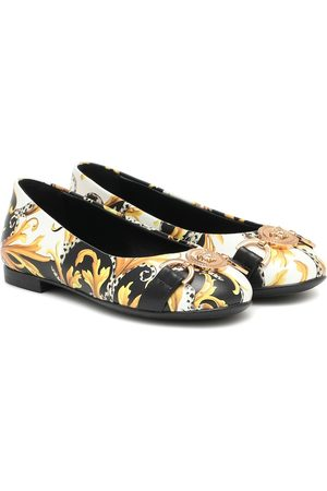 VERSACE Acanthus leather ballet flats