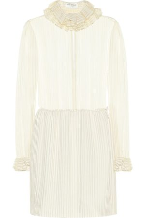 Saint Laurent Striped lamé silk-blend minidress
