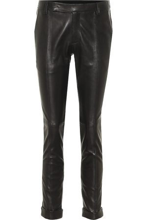 Golden Goose Women Leather Pants - Agathe leather cropped skinny pants