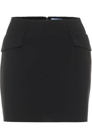 MUGLER High-rise wool miniskirt