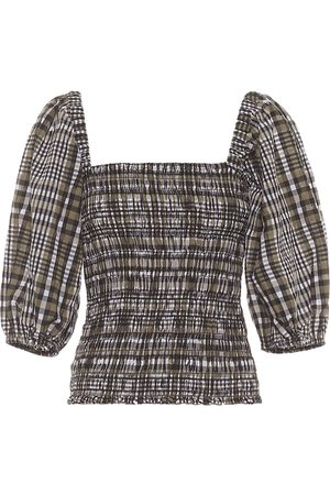 Ganni Checked cotton-blend seersucker top