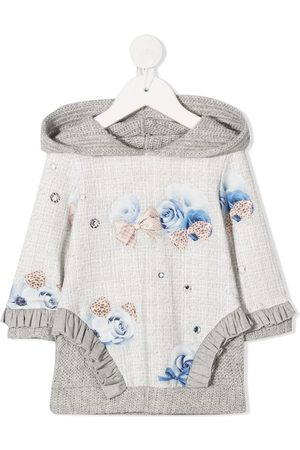Lapin House Baby Casual Dresses - Floral long-sleeve jumper dress - Grey