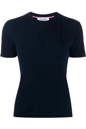 Thom Browne Women T-shirts - 4-Bar side insert ribbed T-shirt