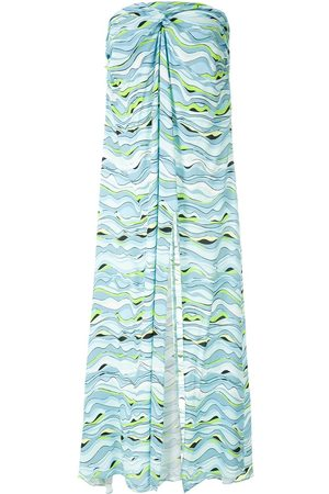 AMIR SLAMA Wave-print strapless dress