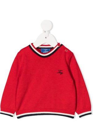 FAY KIDS Embroidered logo jumper